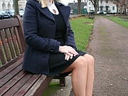 Natasha Smith in pantyhose outdoors