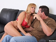 Blonde cougar crazy for young cock