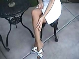 NEIGHBOR PANTYHOSE WIFE IN GARDEN