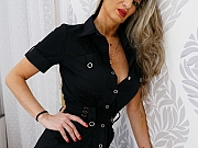 Mercedes Silver busty mom in black dress and stockings strips