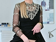 Afina Kisser secretary in black stockings spreads at office