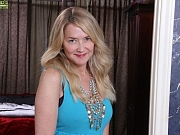 Eva Griffin busty milf blonde in dress and lingerie strips