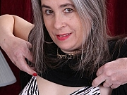 Lexy Lou busty mature strips and toys a hairy pussy