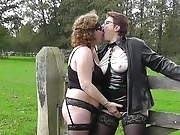 Horny dutch lesbian matures making love outdoors