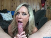 Jodi West strokes you dick until you cum!