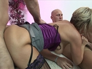 Beautiful blonde MILF is fucked by two willing gents