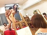 JAV naked school student teacher art class sex with audience